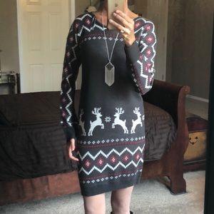 Pink Owl Sweater Dress